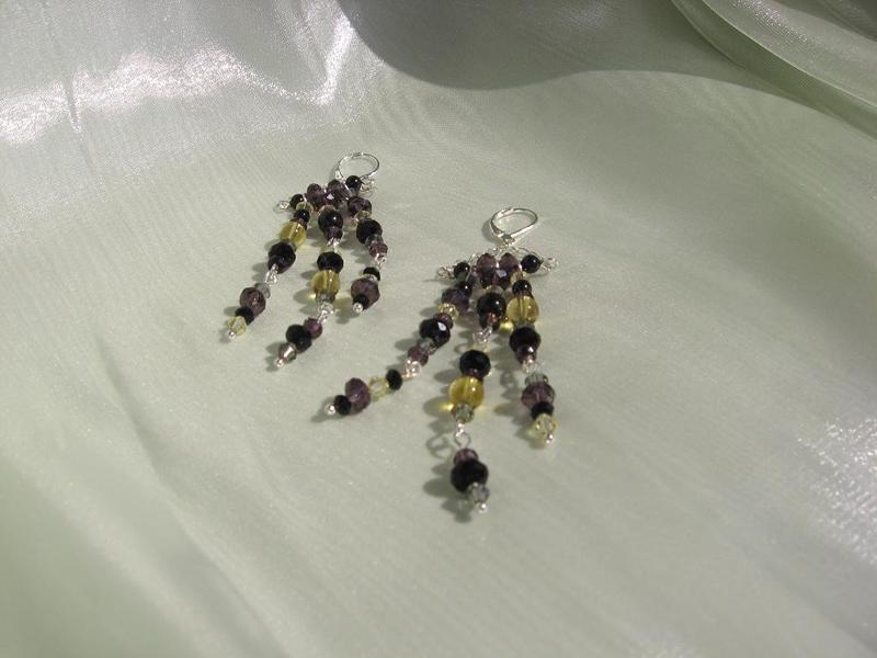 Обици от цитрин, кристали Сваровски и циркони - автор Йорданка Христова
